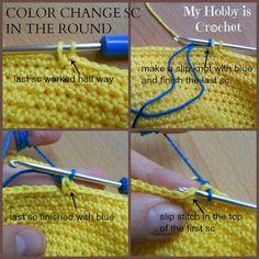 changing colors in single crochet ༺✿ƬⱤღ✿༻