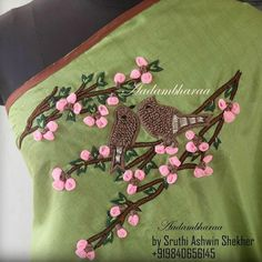 Beautiful love birds embroidery design on saree from Aadambhara by  Sruthi Ashwin and Shekher. 11 April 2017