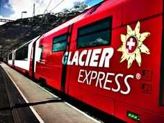 Switzerland's famous Glacier Express....a UNESCO World Heritage train ride through the Alps....Route: St. Moritz to Zermatt....Highlights: 291 bridges, 91 tunnels, Oberalp Pass.....7.5 hour trip!