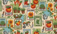 Dig, Seed Packet  100% Cotton Fabric by Makower FQ