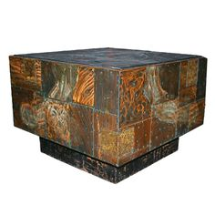 A Copper Patchwork Cube Table by Paul Evans, USA, c.1960s