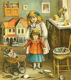 Vintage dolls, pram and other toys, large Victorian style dollhouse  in the background