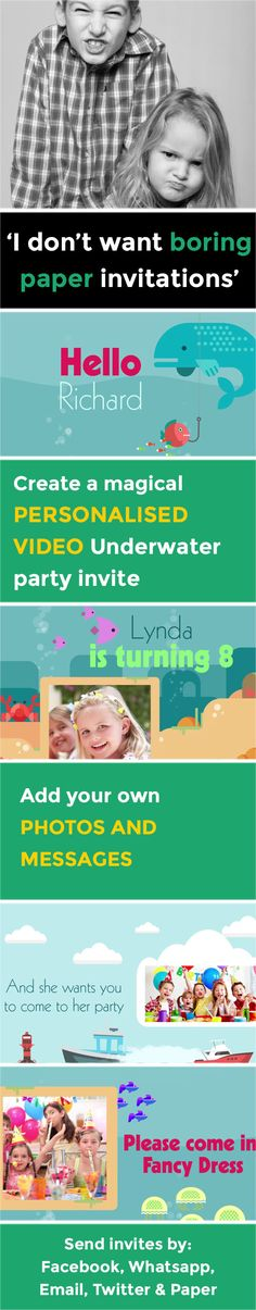 Create a magical VIDEO party invitation - www.poshtiger.co Online Birthday Invitations, Party Invitations Kids, Invitation Paper, Invites, Theme Ideas, Party Themes, Party Ideas, First Birthday Parties, First Birthdays