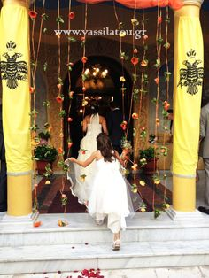 Colorful flower garlands for church entrance! Flower Garlands, Colorful Flowers, Entrance, White Dress, Wedding, Dresses, Fashion, Valentines Day Weddings, Vestidos