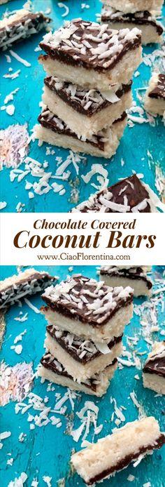 Chocolate Covered Coconut Bars | CiaoFlorentina.com @CiaoFlorentina