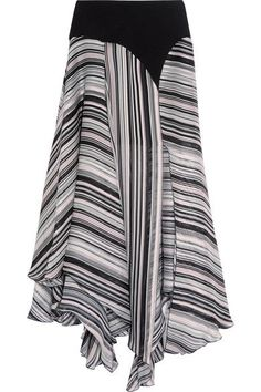 Giambattista Valli - Crepe-trimmed Striped Silk-satin And Chiffon Skirt - Black - IT44