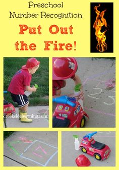 Preschool Number Recognition Game Put Out the Fire is part of Preschool crafts Numbers - Preschool number recognition game up to then to 100 incorporating gross motor skills and movement Draw numbered chalk houses and arm them with water to put out Numbers Preschool, Preschool Themes, Preschool Learning, Toddler Activities, Preschool Activities, Maths Resources, Toddler Crafts, Number Recognition Activities, Letter Recognition
