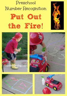 #preschool number recognition game for #firesafetyweek