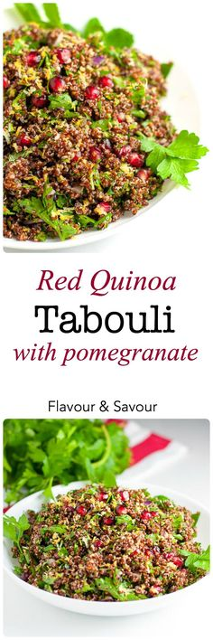 This Red Quinoa Tabouli with Pomegranate is a healthy vegan and gluten-free salad for a fall or winter meal. Pomegranate arils give it a festive touch. It has all the flavour of tabouli without the gluten! |www.flavourandsavour.com