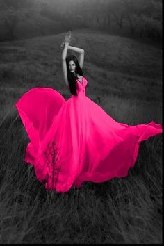 Color splash flowing pink dress ~ by Ladee Pink