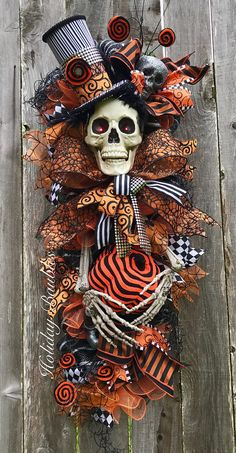 Bones Skelly by Mr. Bones Skelly by Holiday Baubles Holidays Halloween, Halloween Crafts, Happy Halloween, Halloween Wreaths, Halloween Tombstones, Halloween Door, Fall Crafts, Holiday Crafts, Holiday Fun