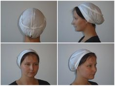 White fabric caps can be seen relatively often on women in medieval art from the 13th to 15th centuries. Examples are known from Italy, France, The Low Countries, and Scandinavia.  Reconstruction with pattern - http://www.textilverkstad.se/pdf/funderingar_kring_en_huva.pdf
