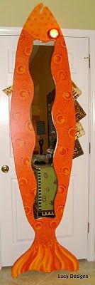 8 ft fish mirror with vintage license plate fins and reflector eye #orange #painted #fish