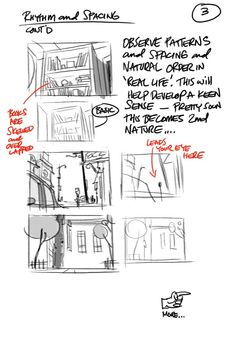 Thoughtful design and composition involves intelligent use of Rhythm and Spacing. Notes from Dreamworks Director Louie del Carmen. Storyboard Drawing, Animation Storyboard, Comic Drawing, Animation Reference, Drawing Reference, Storyboard Examples, Pose Reference, Drawing Techniques, Drawing Tips