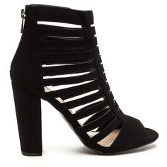 BLACK Tell Me More Faux Nubuck Caged Heels ($24) ❤ liked on Polyvore featuring shoes, pumps, black, strappy pumps, high heel shoes, black strap pumps, black thick heel pumps and black pumps