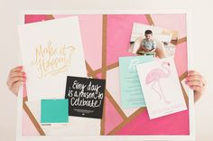 DIY Pink Geometric Painted Cork Board