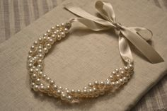 Zoe: Beautiful 3 Strand Twisted Pearl Necklace with Ribbon Tie - All Ivory
