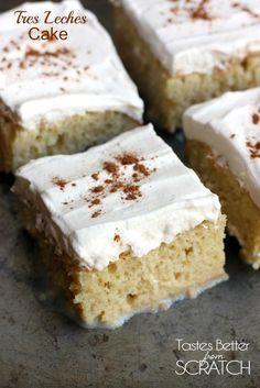 Tres Leches Cake on TastesBetterFromScratch.com