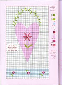 Christiane Dahlbeck 123 Cross Stitch, Cross Stitch Boards, Cross Stitch Heart, Simple Cross Stitch, Cross Stitch Flowers, Cross Stitching, Cross Stitch Embroidery, Cross Stitch Patterns, Hand Embroidery Patterns Flowers