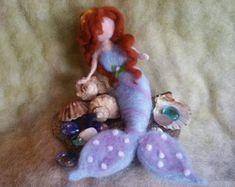 Items similar to Needle Felted Mermaid, Handmade, All Natural, Waldorf Inspired, Ocean Life on Etsy Needle Felted Animals, Felt Animals, Wet Felting, Needle Felting, Mason Jar Cups, Mermaid Sculpture, Felting Tutorials, Creative Play, Felt Dolls