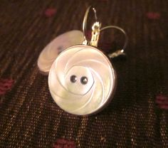 Antique mother of pearl 2-hole button earrings