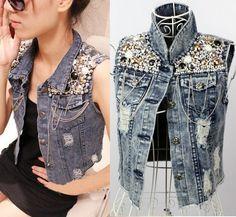 Retro Beaded Sequined Distressed Denim Jacket Jeans Vest | van mijn oude spijkerjack,te maken!