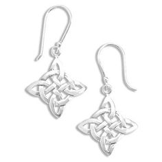 Polished Sterling Silver Diamond Shape Celtic Style French Wire Earrings - JewelryWeb - List price: $73.80 Price: $36.90