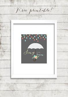 Singing in the rain Free Printable