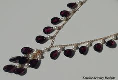 Garnet Drop Necklace ~ Accented with White Freshwater Pearls ~ Set on Vintage Upcycled Chain ~ Eco Chic Jewelry Designs by www.starlitejewelrydesigns.com