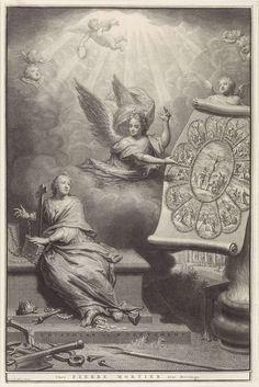 Jan Luyken | Engel toont het geketende geloof het martelaarschap van Christus en de twaalf Apostelen, Jan Luyken, anoniem, Philip Tidemann, 1700 | De personificatie van het geloof zit geketend op de grond. In haar handen een kruis en een bijbel. Naast haar op de grond liggen de passiewerktuigen. Een engel verschijnt in de lucht en toont haar een prent met in het midden de kruisiging van Christus, omringd met verschillende kleinere voorstellingen van het martelaarschap van de twaalf…
