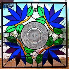 Vintage Plate Stained Glass Panel by glassmagic on Etsy, $175.00
