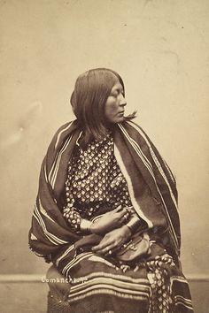 Beautiful portrait of Commanche Woman by Alexander Gardner in his Washington Studio. (c. 1872).