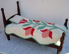 Antique Doll Bed and Quilt.