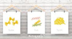 SET PASTA illustration, Italian food decor pasta, Wall Art food fresh style, Culinary collection, Kitchen decor, Italian food, poster, print