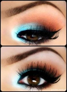 Fun eye make-up for blue eyes. The blue from the eye shadow will clash with your brown eyes causing them to pop. Another idea is to use a blue eyeliner instead of the blue eyeshadow for a more wearable day time look. Pretty Makeup, Love Makeup, Makeup Tips, Makeup Looks, Makeup Ideas, Makeup Tutorials, Perfect Makeup, Gorgeous Makeup, Makeup Trends