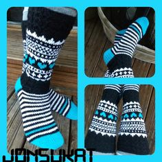 Siniset JonSukat Diy Crochet And Knitting, Crochet Socks, Baby Knitting Patterns, Knitting Stitches, Knitting Socks, Hand Knitting, Knitted Hats, Marimekko Fabric, Wool Socks