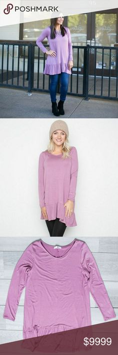 📰Coming Soon📰AJ Memphis Ruffle Long Sleeves AJ's classic Memphis ruffle went long sleeves. The comfort of a tunic and the softness of the fabric will make you want to never take it off.  Color: Mauve Shadow My Amelia James Tops Tunics