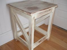 End or side table distressed cream by RusticFurnishings on Etsy, $175.00