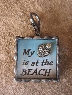 My heart is at the beach soldered box pendant by Nanettemc on Etsy, $15.00
