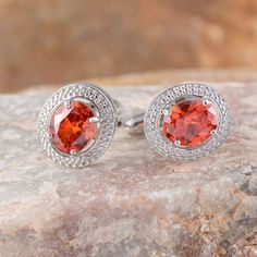 Simulated Orange Diamond (Ovl) Cuff links in Stainless Steel TGW 8.800 cts.