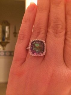 Stunning Sterling Silver Mystic Fire Topaz Ring - Size 7