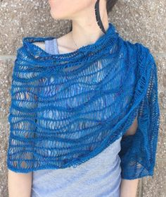 """Leanne's Deep Sea Wrap project photos - Want to wrap yourself in these waves? All you need is just 1 skein of Yarn Carnival's Fire Dancer yarn in """"Jacques Cousteau, a US 2.5 - 32"""" circular needle (we like Knitter's Pride Dreamz!) and the Deep Sea wrap pattern by our very own Monika: http://www.ravelry.com/patterns/library/deep-sea-4"""