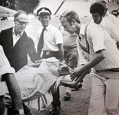 Ewen Chatfield stretchered off after nearly being killed on the cricket field, in a Test match against England in 1975. Pre-helmet days, Chatfield reportedly swallowed his tongue after being hit unconscious on the temple by a bouncer from English fast bowler Peter Lever.