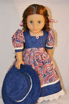 Americana Paisley Dress & Hat for 18 Doll by WorldofIzzy on Etsy, $22.00