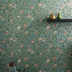William Morris & co Bird & Pomegranate William Morris Tapet, Baby Corner, Half Walls, Bird Wallpaper, Chalk Pastels, Illuminated Letters, Designers Guild, Farrow Ball, Wood Engraving