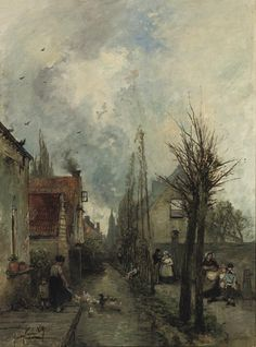 Au bord du canal, Delft, 1859,  Johan Barthold Jongkind. Dutch (1819 - 1891)