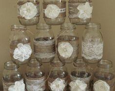 Conjunto de 4 cuartos tamaño arpillera y encaje por MissEvesMittens