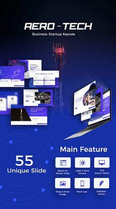 Aero-Tech Technology Keynote Template Image Font, Web Design, Graphic Design, Creative Powerpoint, Start Up Business, Keynote Template, Presentation Templates, Light In The Dark, Innovation