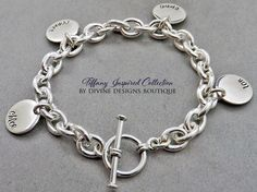 A personal favorite from my Etsy shop https://www.etsy.com/listing/233023498/name-bracelet-personalized-jewelry-charm