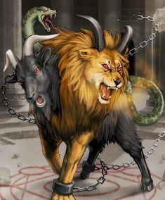 Chimaera - rage of bahamut Greek Creatures, Greek Mythological Creatures, Mythical Creatures Art, Weird Creatures, Magical Creatures, Chimera Mythology, Greek Monsters, Wild Animal Wallpaper, Spiritual Animal